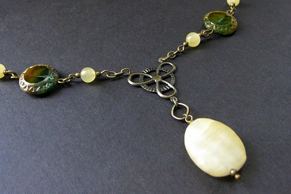 Honey Jade Necklace with Green Czech Glass and Bronze. Handmade Necklace.