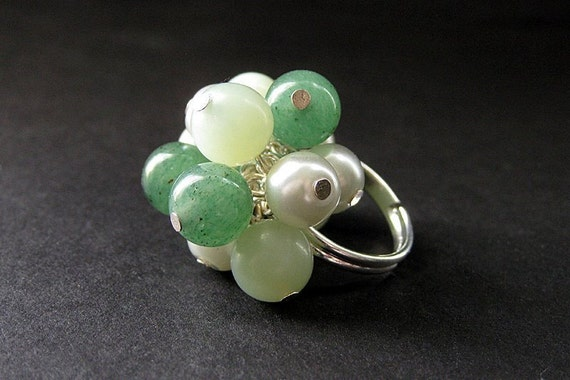 Mint Julep Cocktail Ring Handmade in Jade, Aventurine and Pearls. Handmade.