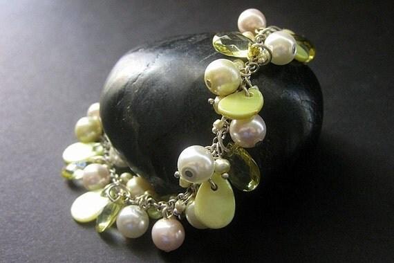 Lime Green Bracelet. Pearl Bracelet. Mother of Pearl Charm Bracelet. Cluster Bracelet. Handmade Jewelry.
