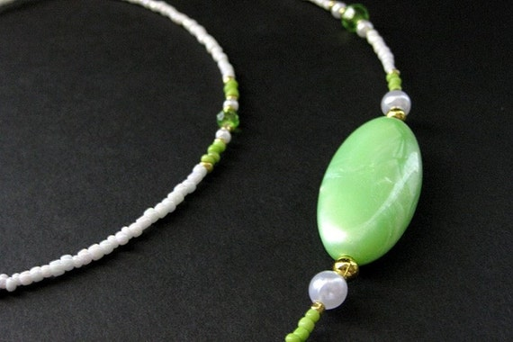 Beaded Lanyard or Eyeglass Chain.  Badge Lanyard. Lime Green Lanyard. Eyeglass Necklace. ID Lanyard. Eyeglass Holder. Handmade Lanyard.