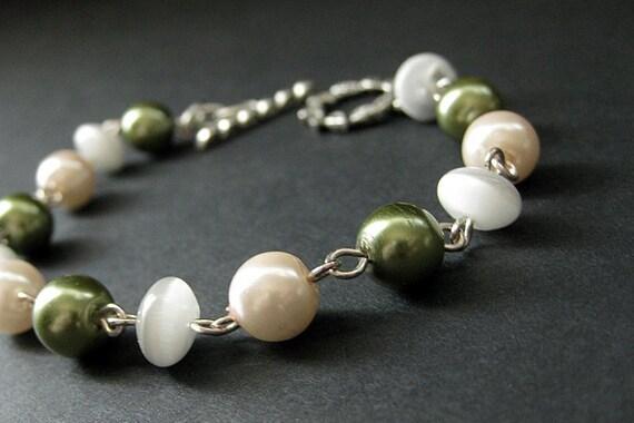 Pearl Bracelet Beaded in Olive Green, Pink and White Cats Eye. Handmade Bracelet.