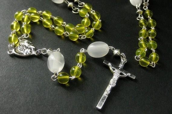 Yellow Catholic Rosary. Holy Rosary with Silver. Handmade Rosary.