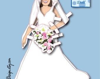 Bridal Shower Paper doll - Printable