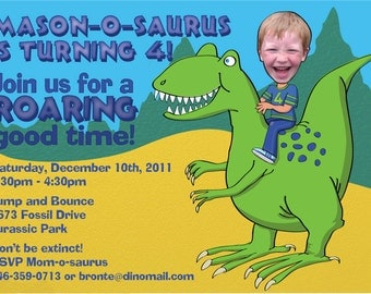 Dinosaur Birthday Party Invitation DIGITAL FILE Personalized with photo