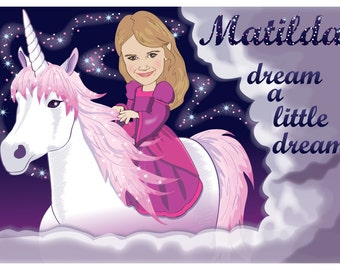 Kids Wall Art - Personalized Unicorn Print - Illustrated from your photo - PRINTABLE FILE