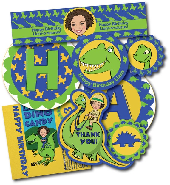 Dinosaur Printable Party Package - Illustrated from your photo