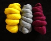 Luxurious Soft Merino Wool Tops/Roving 22 micron. Canary Yellow, Duck Egg Blue, Burgundy.