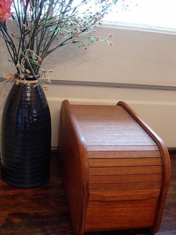 Vintage Teak Wood Box With Roll Top Lid By Kalmar Designs