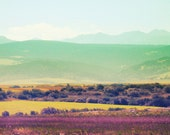 BOGO SALE Bulgarian Landscape 5x5 (13x13cm) Fine Art Travel Photography europe european country lavender field mountains pastel colors
