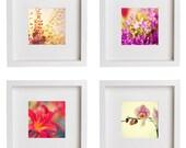 Pink Flowers Set 8x8 (20x20cm) Decorating Ideas -  set of 4 Nature Flower Photography romantic floral home decor