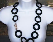 Black Circles Necklace and Earrings