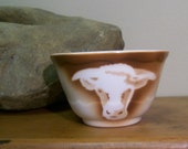 Airbrushed Steer Syracuse China Bouillon Bowl Cup