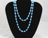Vintage Faux Turquoise Long Strand Necklace with Rectangular Beads