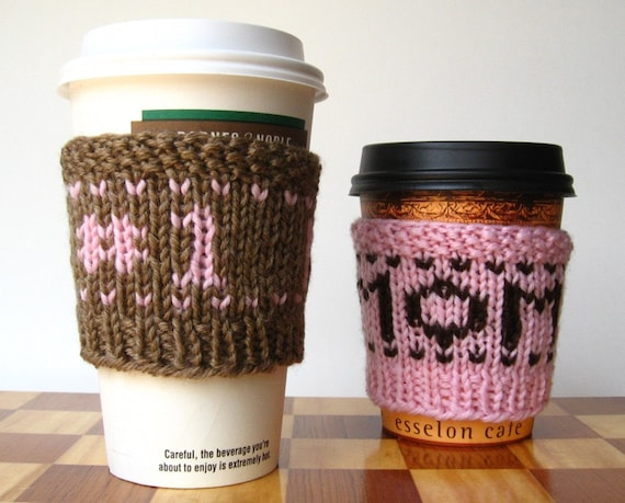 Number one mom - handknit  superwash cup cozy - pink on fawn