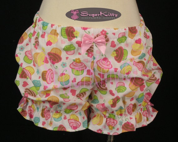 White and Pink Novelty Cupcake Print Cotton Mini Burlesque Bloomers Size Medium -SugarKitty Corsets