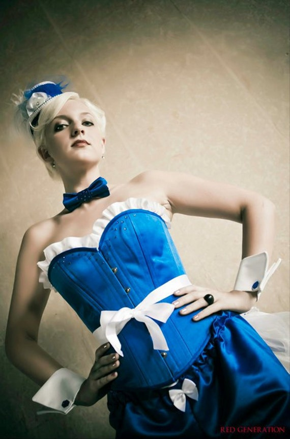 CLEARANCE Royal Blue Cigarette Girl Pinup Corset Costume with Bloomers Bustle Tophat - SugarKitty Corsets