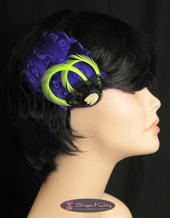 Purple & Lime Green Feather Fascinator with Skeleton Cameo - SugarKitty Corsets