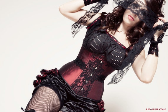 Burgundy & Black Period Inspired Saloon Girl Corset Costume 4 Pieces- SugarKitty Corsets
