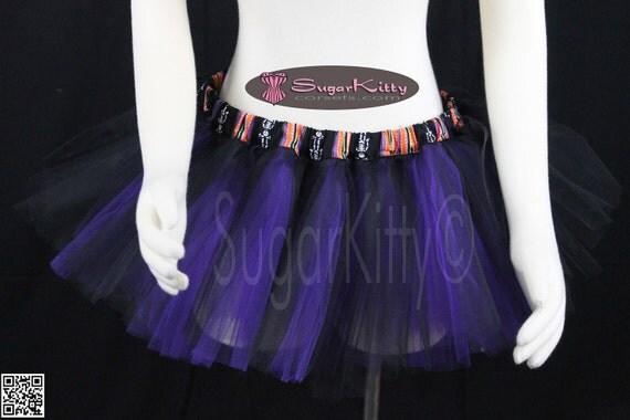 """Black & Purple 2 Color Tulle Tutu Mini 10"""" - SugarKitty Corsets"""