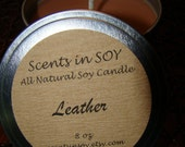 LEATHER - 8 OZ PREMIUM SOY CANDLE TINS