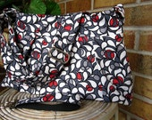 FREE SHIPPING in the U.S. Cross Body Hobo Purse, Pleated Bag, Handbag, Diaper Bag including Matching Key Fob, Stained Glass Petals