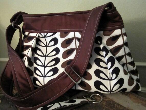 Kenyan Tea Leaves Hobo Pleated Bag including Matching Key Fob