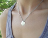 Light Blue Pure Silk Necklace And A Disc Pendant, Sterling Silver Necklace, Simple Sterling Silver Necklace, Sterling Silver Disc Necklace