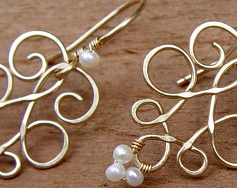 Gold Earring, Butterfly Earrings, Gold Filled and Pearls, Wire Wrapped Earring, Bridal Pearl Earrings
