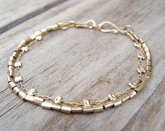 Gold Bracelet, Gold Filled Two Strands Bracelet,  Elegant Women's Bracelet, Delicate Gold Bracelet, Dainty Gold Bracelet,