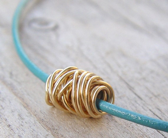 Gold Wire Ball on a Teal Leather Necklace, Gold Necklace,  Leather Necklace, Leather Gold Necklace