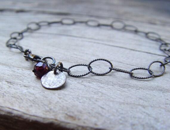 January Birthstone Garnet Charm Bracelet, Oxidized Sterling Silver - READY TO SHIP