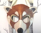 Red Panda Leather Mask, Child Size - Made to Order ECO-FRIENDLY Holiday