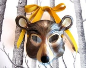 Bear Leather Mask, Adult Size - Made to Order ECO-FRIENDLY Holiday