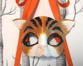 Cat Leather Mask, Adult Size - Made to Order ECO-FRIENDLY Holiday