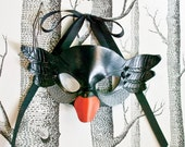 Black Swan Leather Mask, Adult Size - Made to Order ECO-FRIENDLY Holiday