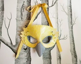 Yellow Finch Leather Mask, Child Size - Made to Order ECO-FRIENDLY Holiday