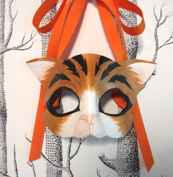 Cat Leather Mask, Child Size - Made to Order ECO-FRIENDLY Holiday