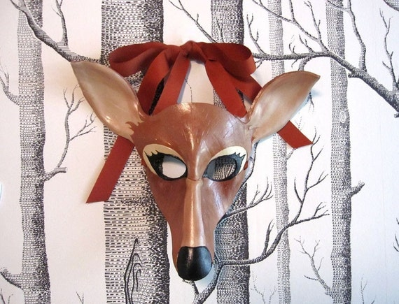 Deer Leather Mask, Child Size - Made to Order ECO-FRIENDLY Holiday