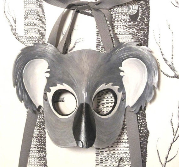 Koala Leather Mask, Child Size - Made to Order ECO-FRIENDLY Holiday