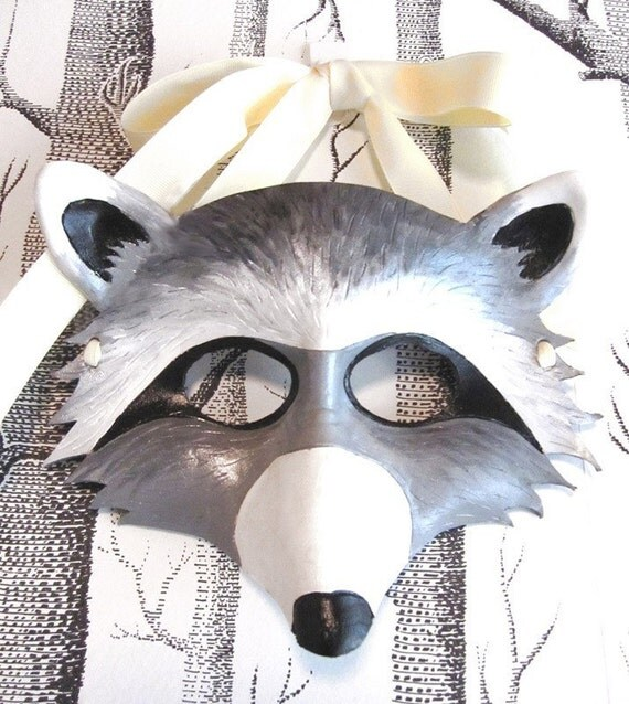 Raccoon Leather Mask, Child Size - Made to Order ECO-FRIENDLY Holiday