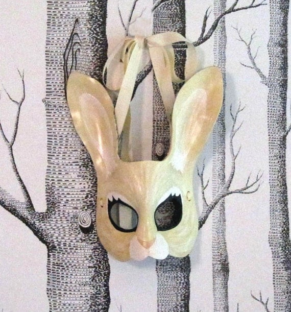 Rabbit Leather Mask, Child Size - Made to Order ECO-FRIENDLY Holiday