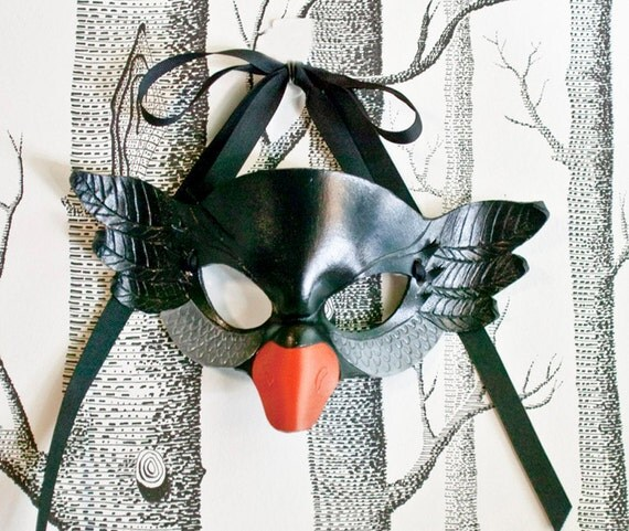 Black Swan Leather Mask, Child Size - Made to Order ECO-FRIENDLY Holiday