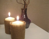 Burlap covered votive candleholders (set of 2)
