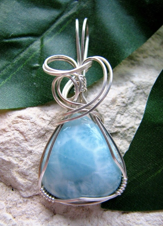 Larimar Silver Wire Wrapped Pendant