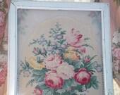 Old Window Shelf Chic Pink Barkcloth Roses Fabric Romantic Cottage Decor Upcycled
