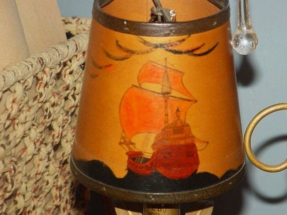 Vintage Leather Chandelier Lamp Shades Hand Painted Viking
