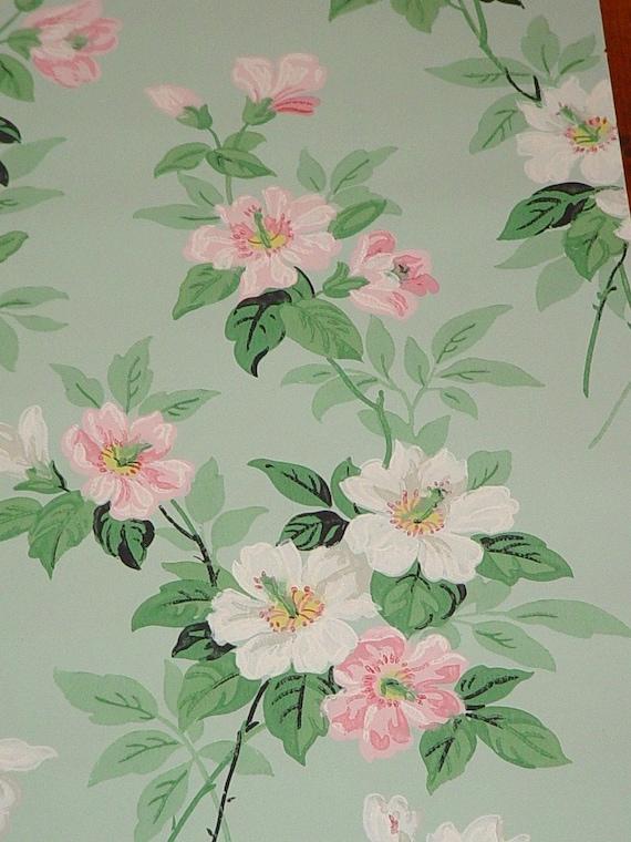 Vintage Wallpaper Pink Roses 1930s Jadeite Background Journals