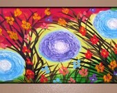 Textured Circles and Flowers Painting on Canvas 36x24 Dancing Circle Flowers