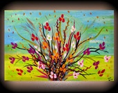 Flower Field Painting on Canvas 36x24 Seagrass Flowers