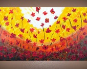 Textured Poppy Flower Field Painting on Canvas 48x24